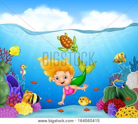 Vector illustration of Cartoon mermaid with beautiful underwater world