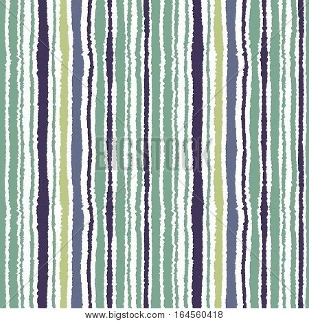Seamless striped pattern. Vertical narrow lines. Torn paper, shred edge texture. Gray, green, white colored background. Cold sea theme. Vector