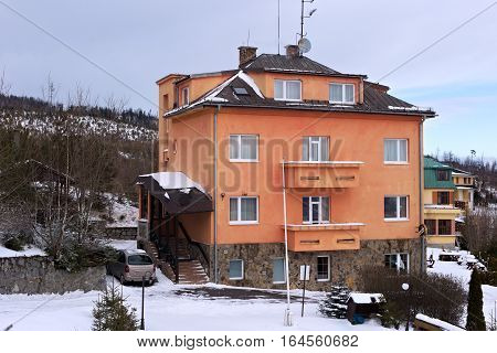 One of the building in the Horny Smokovec. Is a ski village in the Slovakia. Located in the mountains of the High Tatras at an altitude of 950 meters a.s.l.