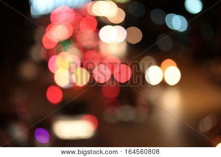 Night City Street Lights Bokeh Background.