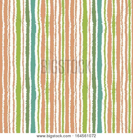 Seamless strip pattern. Vertical lines. Torn paper effect texture. Shred edge background. Turquoise, green, brown soft colors on white. Winter theme. Vector