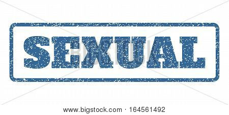 Cobalt Blue rubber seal stamp with Sexual text. Vector message inside rounded rectangular shape. Grunge design and dirty texture for watermark labels. Horisontal sign on a white background.