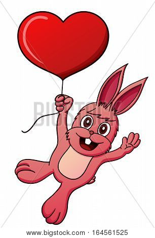 Cartoon illustration of a rabbit hanging from a heart balloon