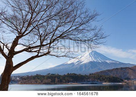 Mt.Fuji at Lake Kawaguchiko in winter season