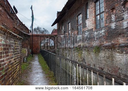 The inner walls of the medieval Great Mill in Gdansk Poland. The Mill was built by the Teutonic Knights in 1350 and was driven by the waters of the Channel Radunia.
