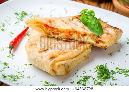 pita bread with cheese on the plate