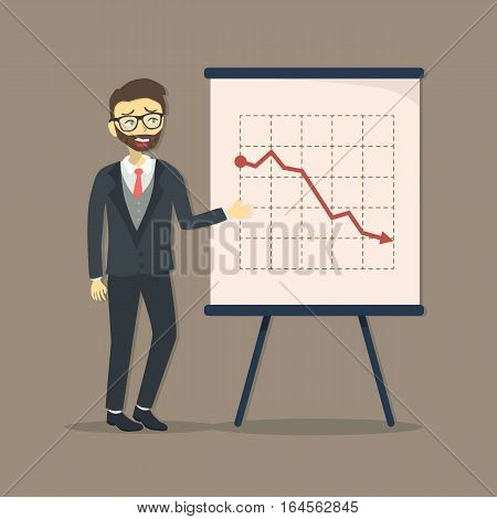 Business Man Businessman giving presentation with crisis arrow down and decrease business progress vector illustration