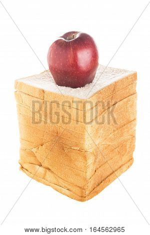 isolated of apple on standing bread slice stack with cliping path on white background