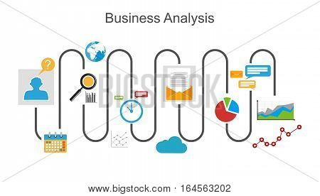Business analysis process concept illustration for web banner, web element, or infographics