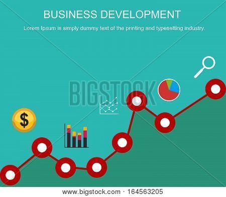 Business development concept. Banner design. Flat design illustration concepts for trend analysis business management business strategy business statistics business monitoring.