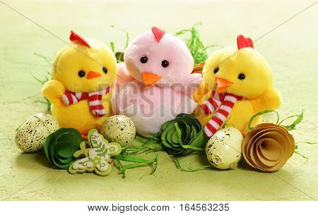 Still Life Easter holiday symbols - eggs and cute chickens