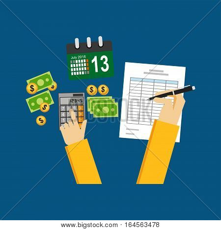 Counting money concept. Earning report. Flat design