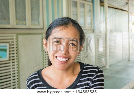 Asian Woman Is Smiling. Glad, Happy, Joyful, Cheerful, Positive Expression Woman.