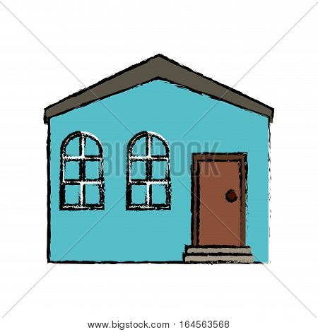 drawing blue house private residence structure vector illustration eps 10