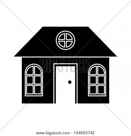 silhouette house family architectural suburban vector illustration eps 10