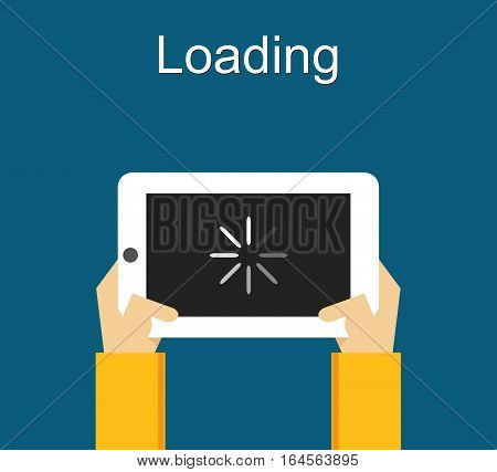 Loading process concept illustration. Flat design. Loading process status. Loading process on gadget. Waiting loading process.