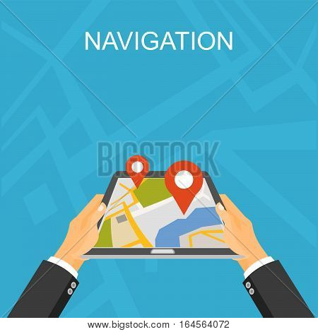 Navigation illustration. GPS technology. Location finding and map marker concept.