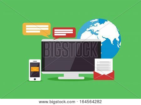 Telecommunication concept illustration. Media technology background .