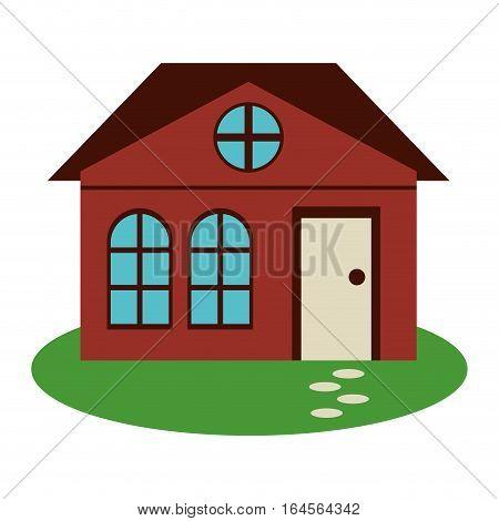 house family architectural suburban garden vector illustration eps 10