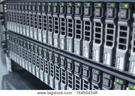 The hard drives in data center of office