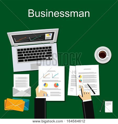 Working businessman concept. Accountant or business analyst illustration for web banner, web element, or graphic element