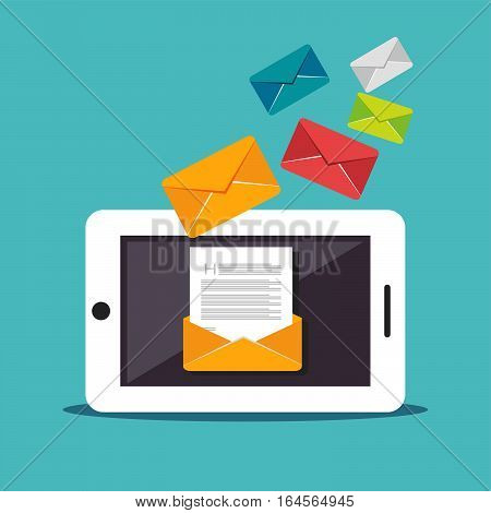 Email illustration. Digital Marketing. Sending or receiving email concept illustration. flat design. Email marketing. Broadcast email.