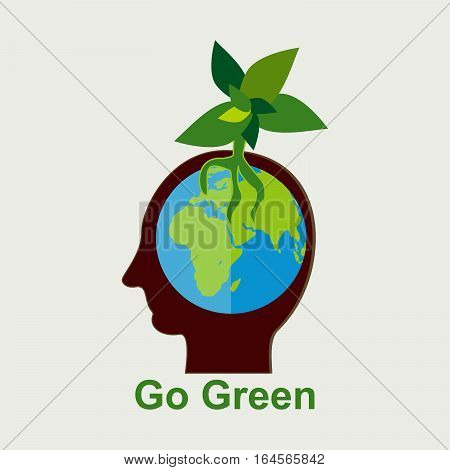 Growing plant in human head. Go green concept illustration.