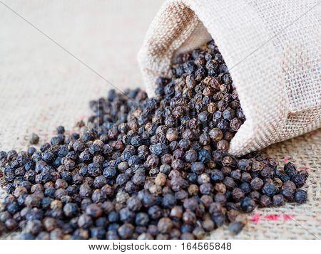 black pepper dry seed on brown hemp sack texture background