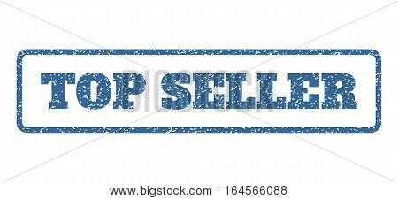 Cobalt Blue rubber seal stamp with Top Seller text. Vector message inside rounded rectangular shape. Grunge design and scratched texture for watermark labels. Horisontal emblem on a white background.