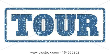 Cobalt Blue rubber seal stamp with Tour text. Vector tag inside rounded rectangular banner. Grunge design and scratched texture for watermark labels. Horisontal emblem on a white background.