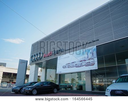 Auto City, Penang, Malaysia - December 17, 2016: AUDI showroom and Office of official dealer. Audi is a German automobile manufacturer that designs luxury vehicles in Bavaria