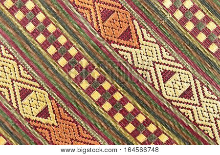Thai traditional fabrics patterns in hot color tone