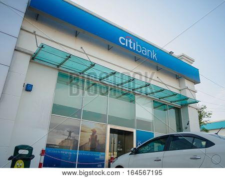 Auto City, Penang, Malaysia - December 17, 2016: Citibank Office,Malaysia.Citibank is a banking division of financial services multinational Citigroup, founded in in 1812 as the City Bank of New York.