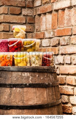 Food preserving for autumn winter time. Jars with pickled vegetables in cellar