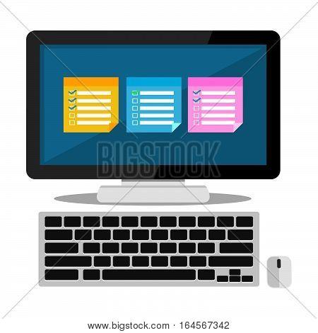 Sticky notes on desktop. Reminder application concept