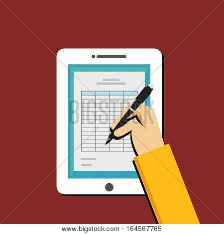 Digital spreadsheet. Businessman works with tablet. concept illustration.