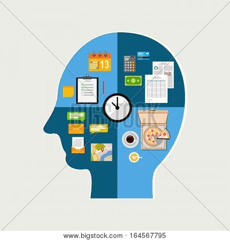 Human time management concept. Human thinking of daily life. The functioning of the human body and the brain