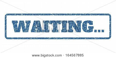 Cobalt Blue rubber seal stamp with Waiting... text. Vector caption inside rounded rectangular frame. Grunge design and scratched texture for watermark labels. Horisontal sign on a white background.
