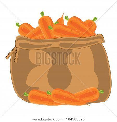 Full bag of the vegetable carrot on white background