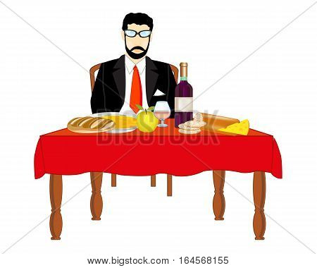 Man in suit and tie with meal at the table