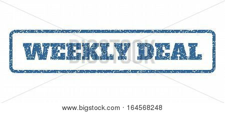 Cobalt Blue rubber seal stamp with Weekly Deal text. Vector tag inside rounded rectangular frame. Grunge design and dirty texture for watermark labels. Horisontal sticker on a white background.