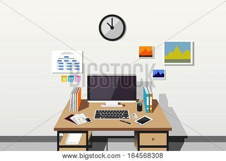 Working space or workplace concept flat design.