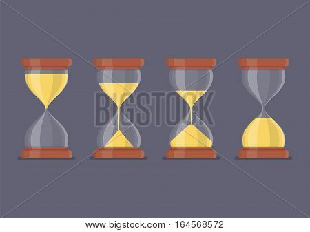 Transparent sandglass icon set. Vector cartoon illustration