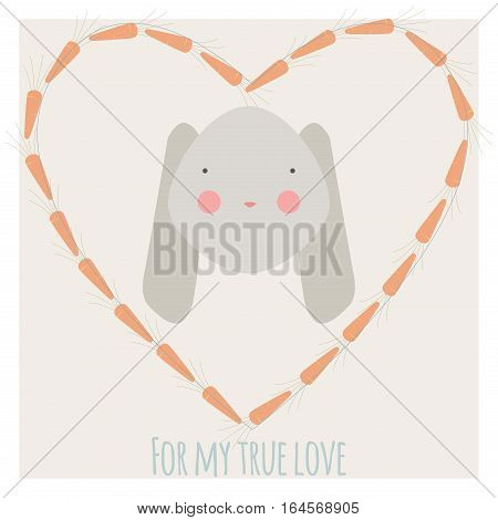 Valentine card with rabbit in carrot heart-shaped frame and inscription