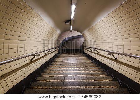 Pedestrian Tunnel Of Parisian Metro