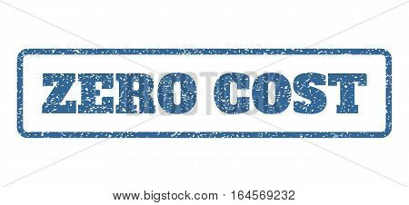 Cobalt Blue rubber seal stamp with Zero Cost text. Vector caption inside rounded rectangular shape. Grunge design and dirty texture for watermark labels. Horisontal emblem on a white background.