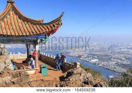 Kunming, China - January 9, 2017: Tourists Enjoying The View Of Kunming, The Capital Of Yunnan Provi