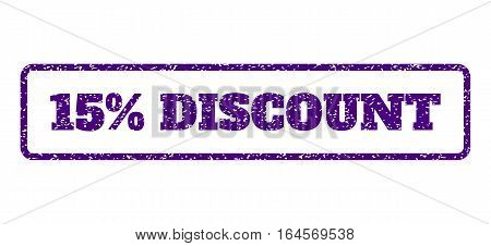 Indigo Blue rubber seal stamp with 15 Percent Discount text. Vector tag inside rounded rectangular banner. Grunge design and unclean texture for watermark labels.