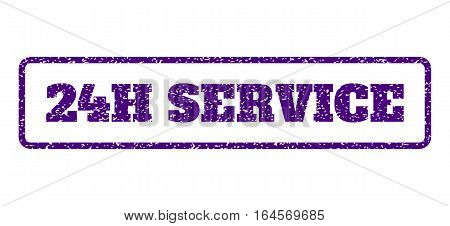 Indigo Blue rubber seal stamp with 24H Service text. Vector caption inside rounded rectangular shape. Grunge design and scratched texture for watermark labels. Horisontal sign on a white background.