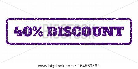 Indigo Blue rubber seal stamp with 40 Percent Discount text. Vector caption inside rounded rectangular banner. Grunge design and scratched texture for watermark labels.